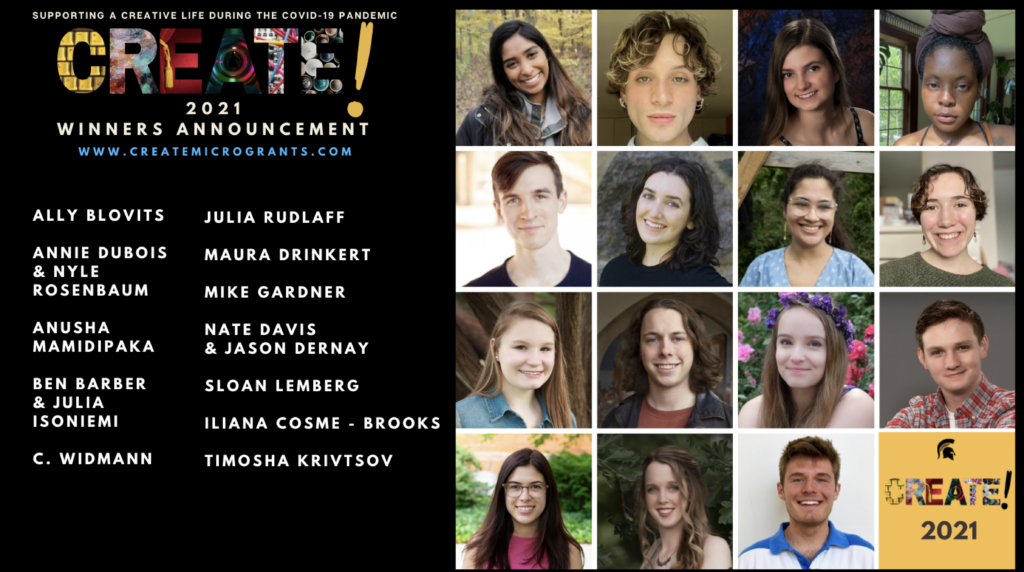 """Graphic with twelve headshots of people in a four by four grid. To the left of the photo are the people's names and the text """"CREATE! 2021 Winners Announcement"""""""