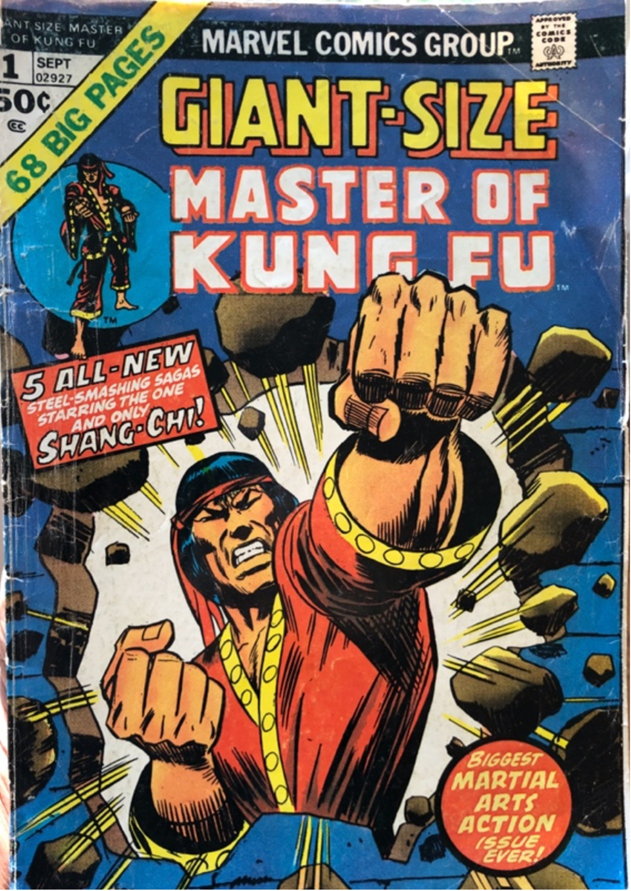"""Photo of a comic cover that says """"Master of Kung Fu"""""""
