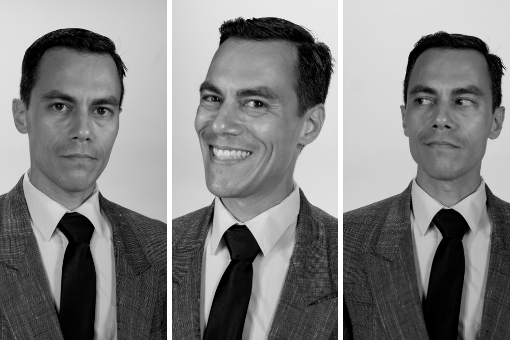 Image is broken into three vertical photos of the same man. On the left, his expression is serious. In the middle, he is smiling. On the right, he is looking away.