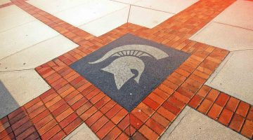 brick and stone ground with the MSU spartan helmet